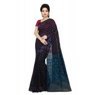 Woodentant Women's Soft Cotton Silk Dhakai Jamdani Saree In Black-Blue With Thread Work