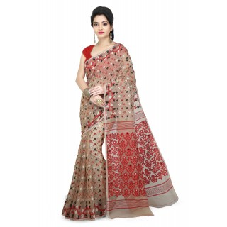 Woodentant Women's Soft Cotton Silk Dhakai Jamdani Saree In Beige-Red With Multicolor Thread Work