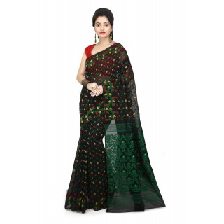 Woodentant Women's Soft Cotton Silk Dhakai Jamdani Saree In Black-Green With Multicolor Thread Work