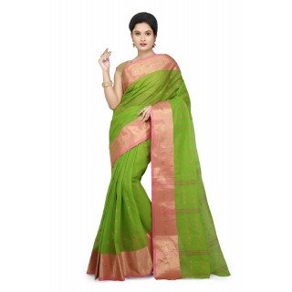 WoodenTant Women's Pure Cotton Tant Saree In Green_Free Size
