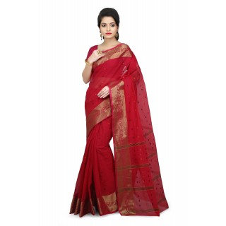 WoodenTant Women's Pure Cotton Tant Saree In Pink_Free Size