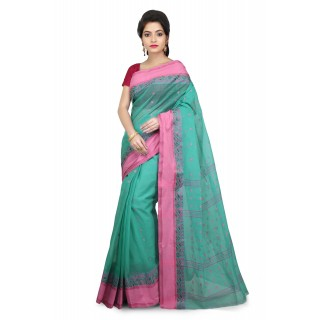 WoodenTant Women's Pure Cotton Tant Saree In Light Green_Free Size