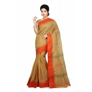 WoodenTant Women's Pure Cotton Tant Saree In Light Beige _Free Size