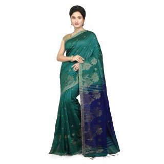 WoodenTant Women's Cotton Silk Baluchari Saree In Green & Blue with Golden zari work in all over the saree.
