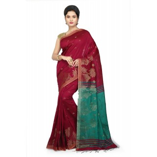 WoodenTant Women's Cotton Silk Baluchari Saree In Pink & Green with Golden zari work in all over the saree.