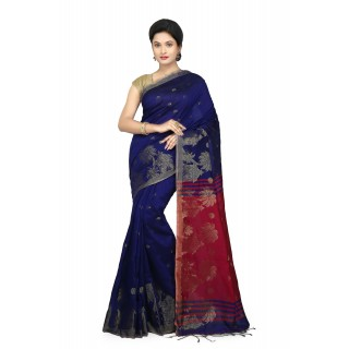 WoodenTant Women's Cotton Silk Baluchari Saree In Blue & Pink with Golden zari work in all over the saree.