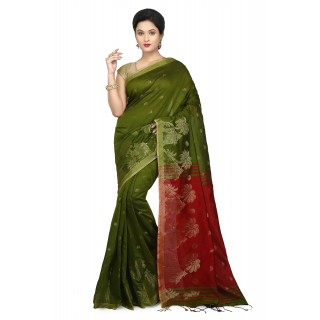 WoodenTant Women's Cotton Silk Baluchari Saree In Green & Red with Golden zari work in all over the saree.