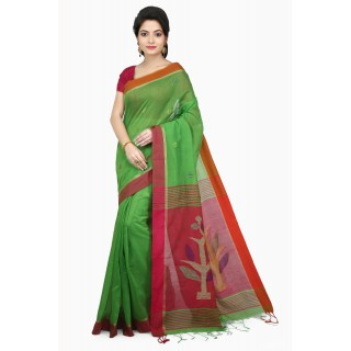 WoodenTant Women's Cotton Silk Handloom Jamdani Saree In Green & Pink with Weaving Tree Design In Pallu.