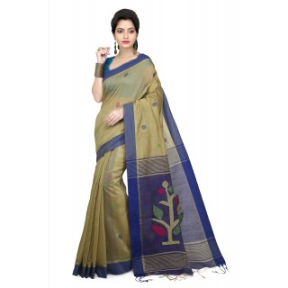 WoodenTant Women's Cotton Silk Handloom Jamdani Saree In Beige & Dark Blue with Weaving Tree Design In Pallu.