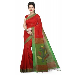 WoodenTant Women's Cotton Silk Handloom Jamdani Saree Red and Green with Weaving Tree Design In Pallu.