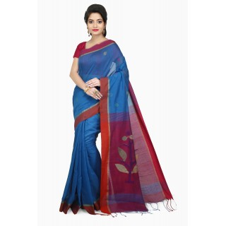 WoodenTant Women's Cotton Silk Handloom Jamdani Saree In Light Blue & Pink with Weaving Tree Design In Pallu.