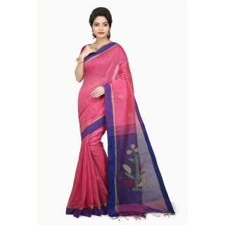WoodenTant Women's Cotton Silk Handloom Jamdani Saree In Light Pink & Purple with Weaving Tree Design In Pallu.