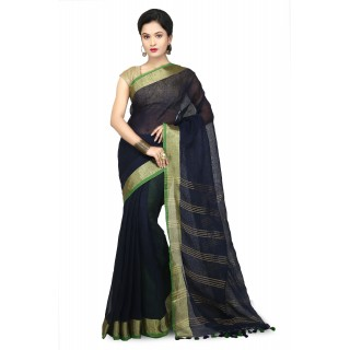 WoodenTant Women's Pure Linen Saree In Dark Blue with PomPom