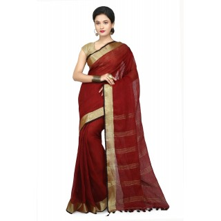 WoodenTant Women's Pure Linen Saree In Maroon with PomPom.
