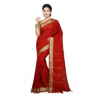 WoodenTant Women's Pure Linen Saree In Red with PomPom.
