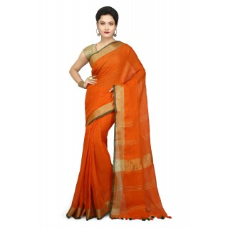 WoodenTant Women's Pure Linen Saree In Orange with PomPom.