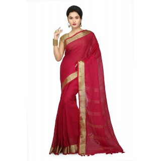 WoodenTant Women's Pure Linen Saree In Pink with PomPom.