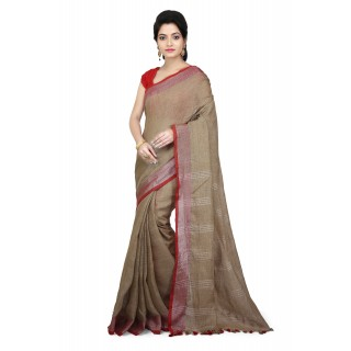 WoodenTant Women's Pure Linen Saree In Beige  with PomPom.