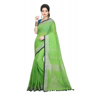WoodenTant Women's Pure Linen Saree In Green  with PomPom.