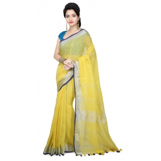 WoodenTant Women's Pure Linen Saree In Yellow with PomPom