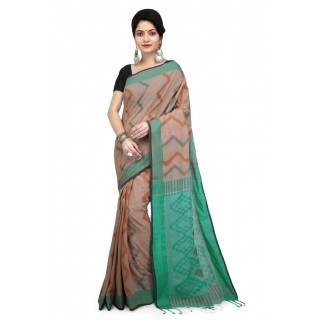 WoodenTant Women's Soft Pure Cotton Handloom Printed Saree in Multicolor.