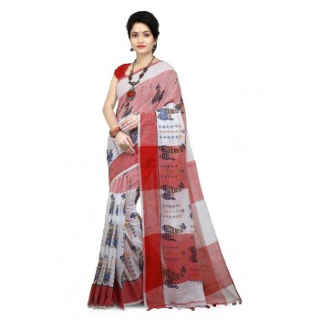 WoodenTant Women's Pure Khadi Cotton Handloom Printed Saree in Multicolor.