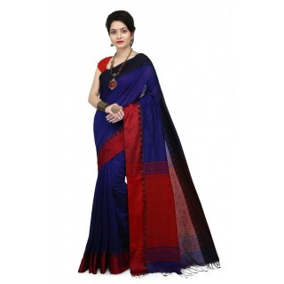WoodenTant Women's Handloom Cotton Silk Saree In Blue with Red Pallu And Buti Work