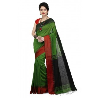 WoodenTant Women's Handloom Cotton Silk Saree In Green with Black Pallu And Buti Work