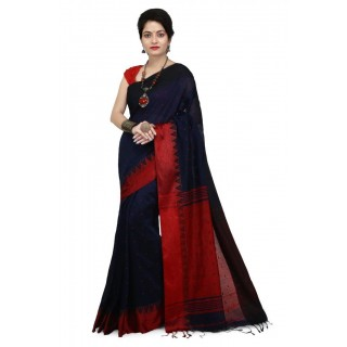WoodenTant Women's Handloom Cotton Silk Saree In Dark Blue with Red Pallu And Buti Work