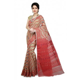 WoodenTant Women's Cotton Silk Dhakai Jamdani Handloom Saree In Multicolor with Weaving Thread Work and Saw Design