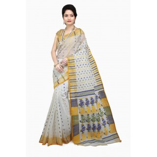 WoodenTant Women's Cotton Silk Dhakai Jamdani Handloom Saree In Multicolor with Weaving Thread Work and Leaf Design