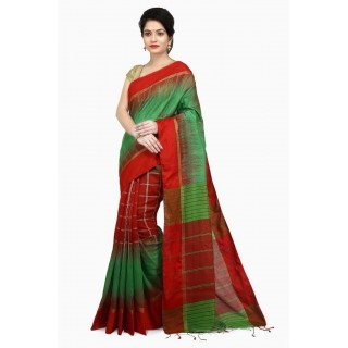 WoodenTant Women's Ikkat Cotton Silk Saree In Green & Red with Cotton Thread work