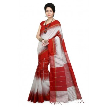 WoodenTant Women's Ikkat Cotton Silk Saree In White & Red with Cotton Thread work