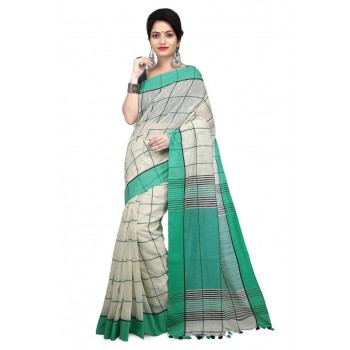 WoodenTant Women's Checkered Handloom Pure Cotton Saree Green, White