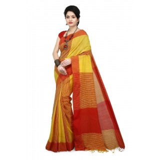 WoodenTant Multicolor Handloom Cotton Khadi Saree with Checkered Design