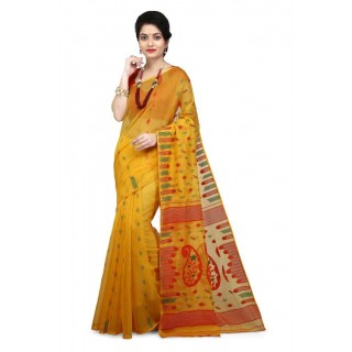 WoodenTant Women's Cotton Silk Soft Dhakai Jamdani Saree in Yellow