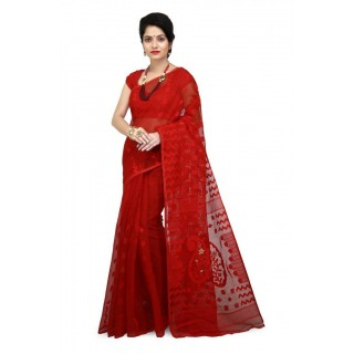 WoodenTant Women's Cotton Silk Soft Dhakai Jamdani Saree in Red