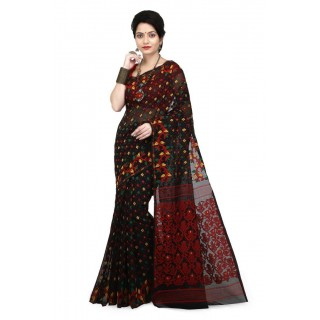 WoodenTant Women's Cotton Silk Soft Dhakai Jamdani Saree in Black and Red