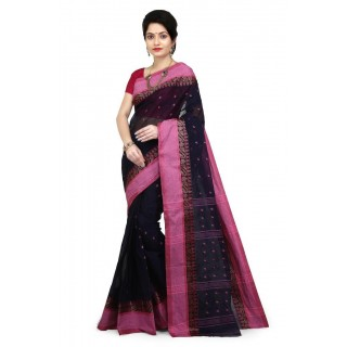 WoodenTant Women's Tangail Pure Cotton Tant Saree  (Black, Pink)