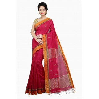 WoodenTant Women's Cotton Silk Handloom Zari Saree In Pink with zari work in all over the saree