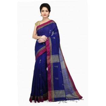 WoodenTant Women's Cotton Silk Handloom Zari Saree In Blue with zari work in all over the saree
