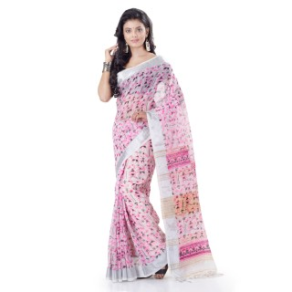 WoodenTant Women's Printed Pure Cotton Khadi Saree In White