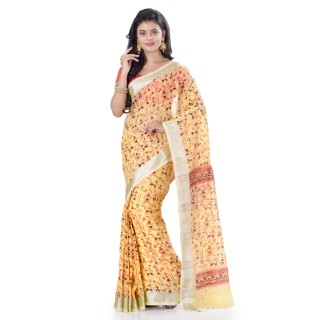 WoodenTant Women's Printed Pure Cotton Khadi Saree In Yellow