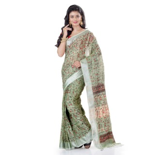 WoodenTant Women's Printed Pure Cotton Khadi Saree In Moss Green