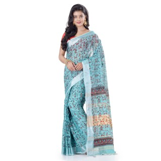 WoodenTant Women's Printed Pure Cotton Khadi Saree In Light Blue