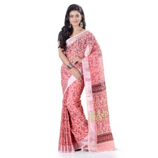WoodenTant Women's Printed Pure Cotton Khadi Saree In Pink