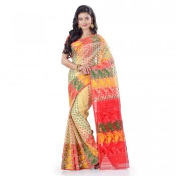 WoodenTant Women's Cotton Silk Dhakai Jamdani Handloom Saree In Beige With Multicolor Thread Work