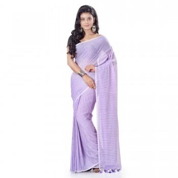 WoodenTant Women's Striped Design Pure Cotton Saree In Purple
