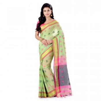 WoodenTant Pure Cotton Handloom Saree With Cotton Thread Work & Zari Border