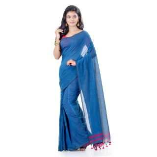 WoodenTant Daily Wear Handloom Pure Cotton Saree with Blouse Piece in Light Blue